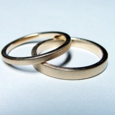 Wedding Bands made from reclaimed gold from Bride and Groom. 14k Yellow gold